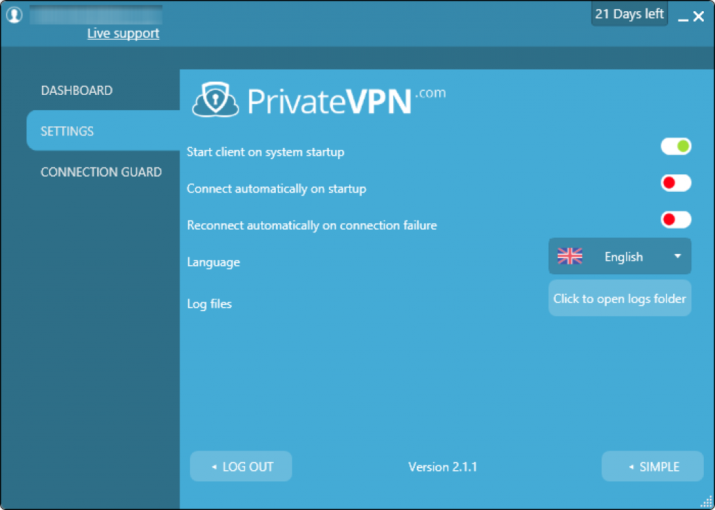 private vpn settings