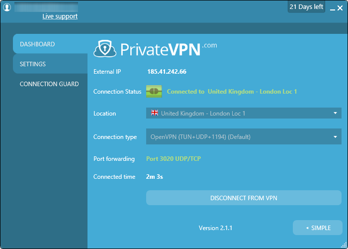 privatevpn connected advanced interface