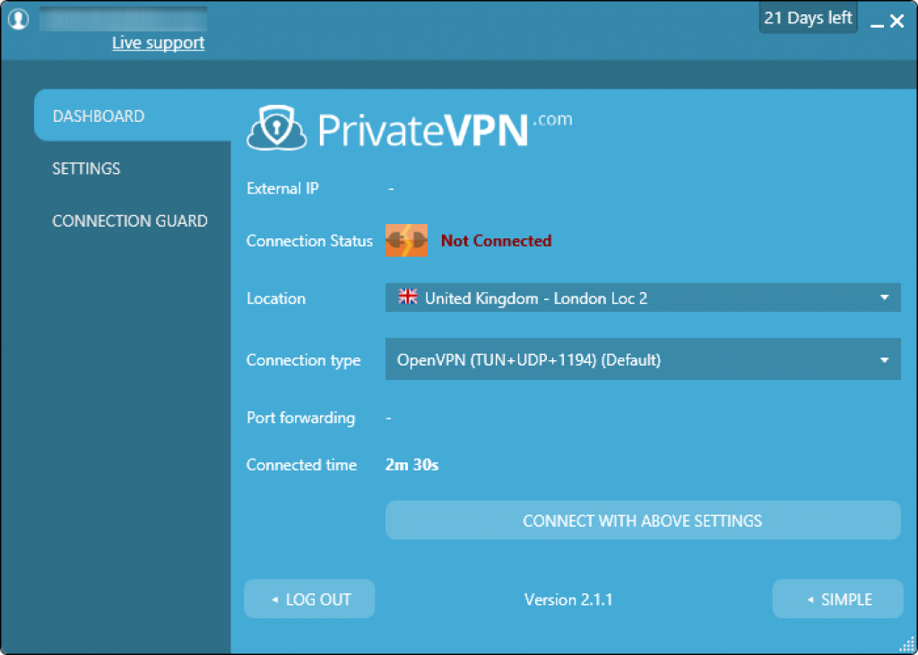 privatevpn review advanced interface