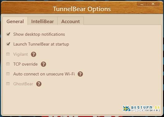 Allmänna inställningar för TunnelBear