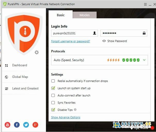 PureVPN: Automatisk protokollval