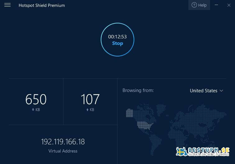 Minimalistiskt gränssnitt med Hotspot Shield VPN