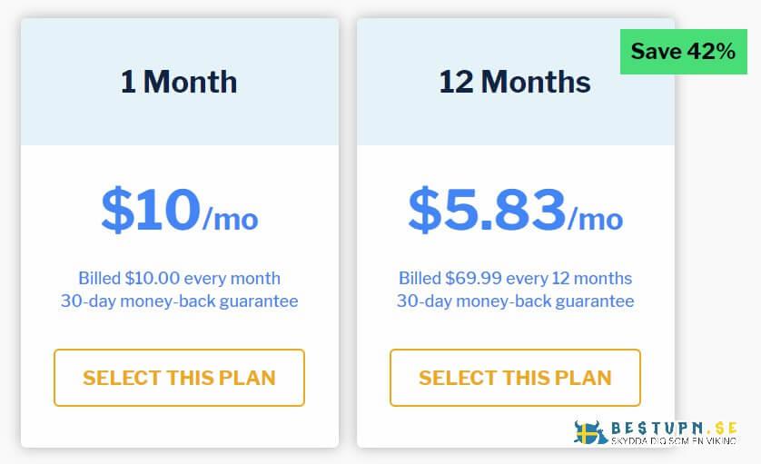 Priser och prenumerationer på StrongVPN